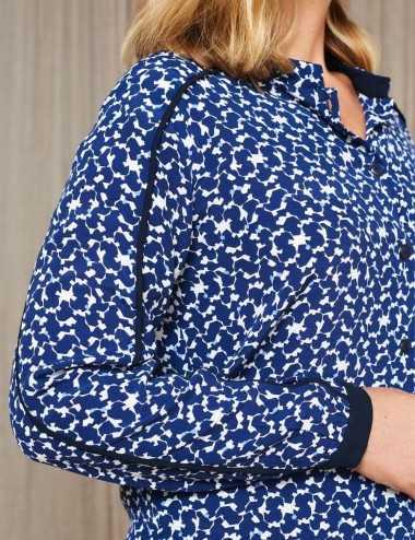 Chemise imprimé bleu à biais