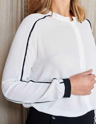 Chemise blanche à biais noir