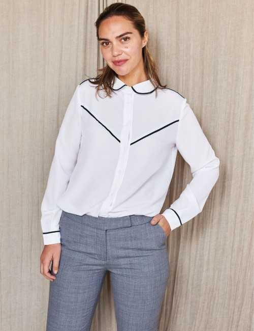 Chemise blanche biais noir