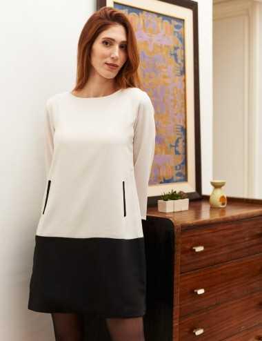 Robe droite bicolore noir et blanc