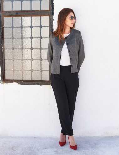 Veste sans col grise