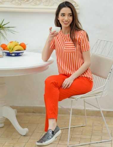 Pantalon fitté orange avec élastique au dos