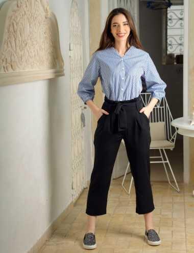 Pantalon noir 7/8 à ceinture