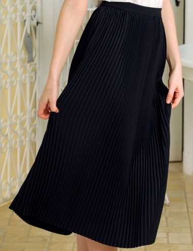 Jupe plissée noire longueur midi