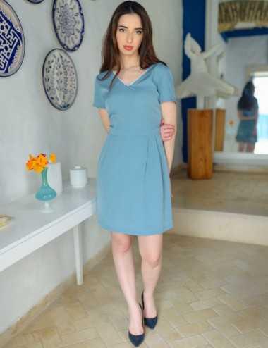 Robe manches courtes bleu ciel