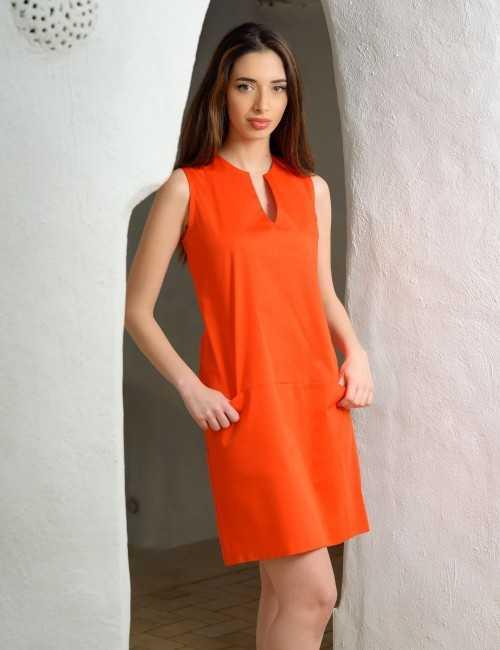 Robe droite orange