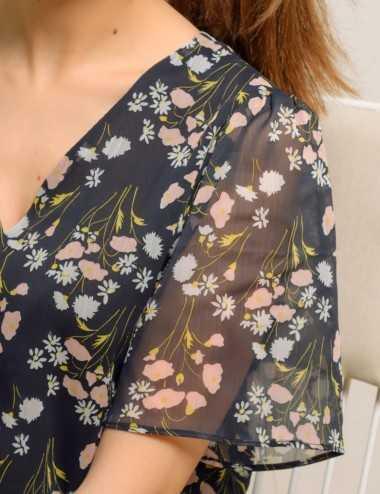 Chemises imprimé fleurs manches voile