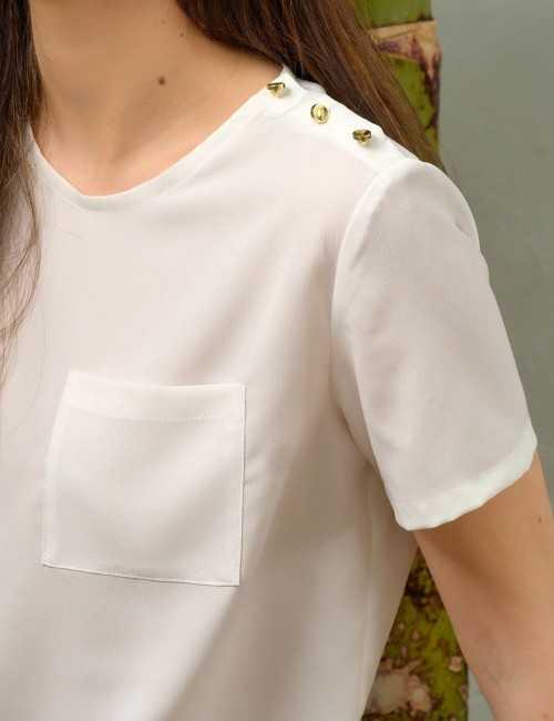 Haut demi-manches blanc à poche