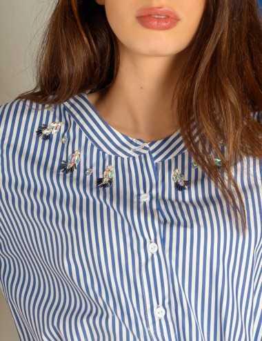 Robe chemise brodée