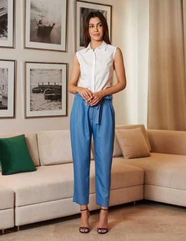 Pantalon droit à ceinture bleu jean