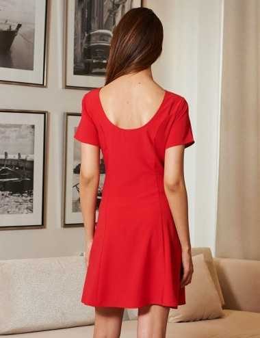 Robe col rond rouge