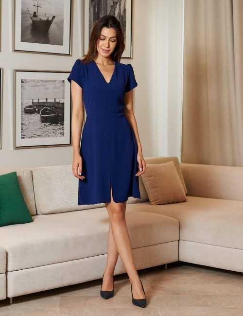Robe droite bleu vif