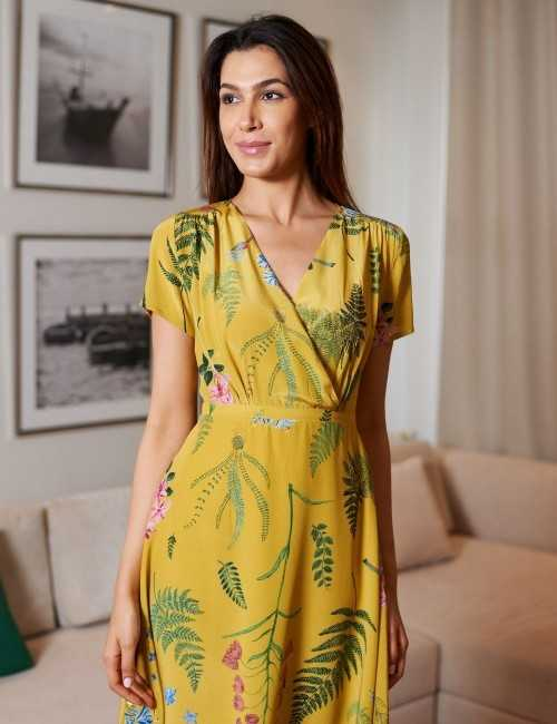 Robe cache-cœur jaune longueur midi