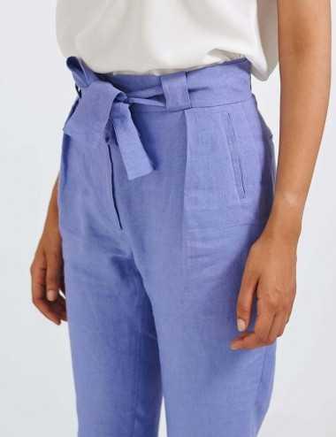 pantalon en lin violet avec ceinture