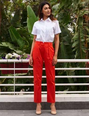 pantalon taille haute orange