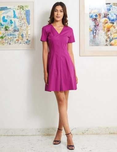 Robe courte en coton et elasthane violet