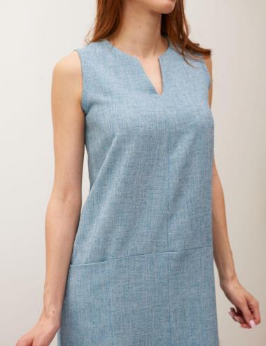 robe droite bleue