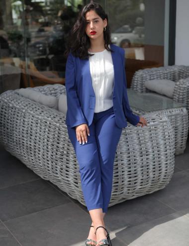 veste tailleur bleu mer
