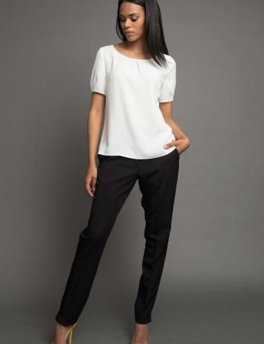 haut féminin à manches courtes blanc