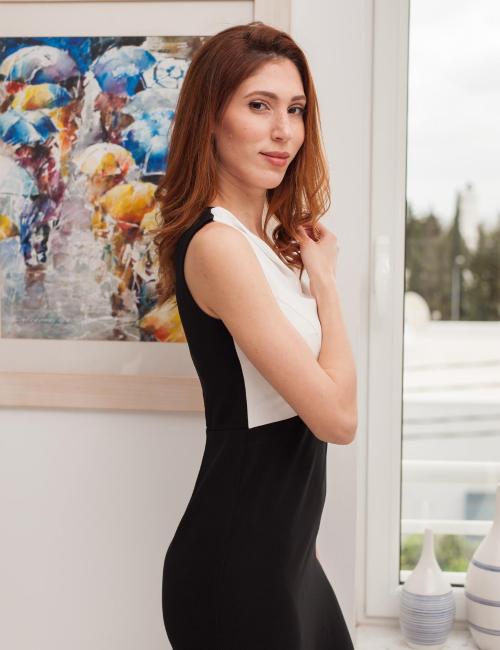 robe ajustée noire et blanche